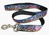 Tattoo Purple Love and Hearts Dog Leash Matches Seat Belt Buckle Collars, My Pet Supplies