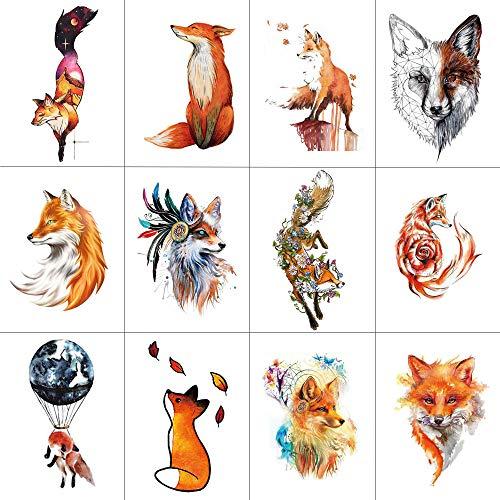 (WYUEN 12 PCS/lot Wolf Temporary Tattoo Sticker for Women Men Fashion Body Art Adults Waterproof Hand Fake Tatoo 9.8X6cm FW12-01 (FW12-02B))