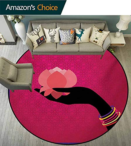 RUGSMAT Lotus Round Kids Rugs,Silhouette of Woman Hand with Bangles Holding A Japanese Flower Asian Folklore Design Non Skid Nursery Kids Area Rug for Bedroom Machine Washable,Diameter-63 Inch ()