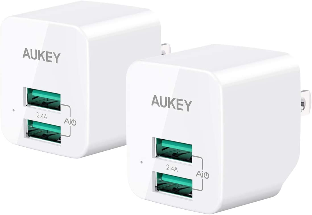 AUKEY USB Wall Charger USB Charger with Foldable Plug Ultra Compact Dual USB Port 2.4A Output for iPhone 11 Pro Max, iPad Pro, AirPods Pro, Samsung and More (2-Pack)