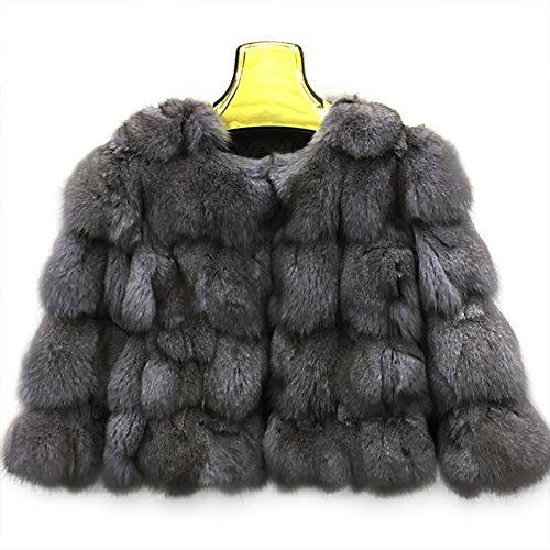 SPRINGWIND Women Fox Fur Coat Short Jacket Overcoat Waistcoat Garment Warm Outwear Christmas Gift