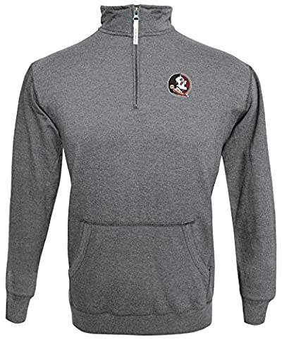 NCAA Florida State Seminoles Men's 1/4 Zip 50/50 Fleece Top, Gray, XX Large - Florida State Fleece Fabric