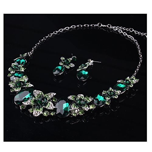 Hamer Charm Crystal Statement Choker Necklace and Earrings Women Pendant costume Jewelry Sets (Green)