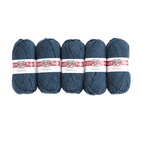 Valley Yarns Northampton 5-Pack (Worsted Weight Yarn, 100% Wool) - #43 Denim Heather