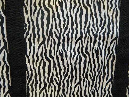 schwarz Tier Zebra Streifen Aufdruck seidig Style Damen Einkauf über Nacht Wochenenden Reisetasche Handtasche - von fat-catz-copy-catz