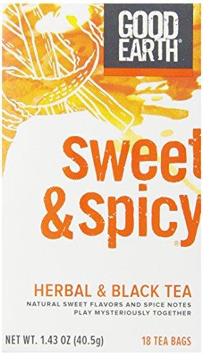Good Earth Sweet & Spicy Herbal & Black Tea, 18 Count Tea Bags (Pack of 6)