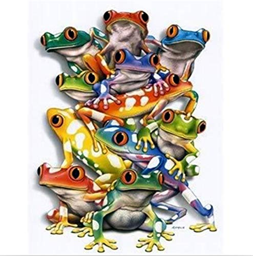 YUMEART Homes Festive Gift DIY Diamond Painting Cross Stitch Colorful Frogs Painting Novelty Modern 3D DIY Room Decor