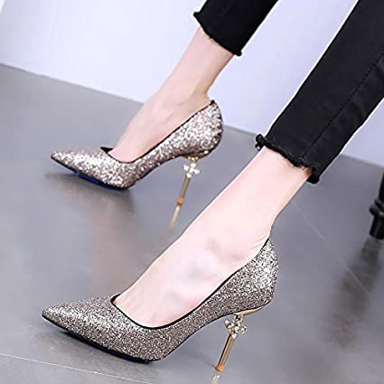 0ea693d5e85d7 Amazon.com : GTVERNH Pointed High-Heeled Shoes Thin And Shallow ...
