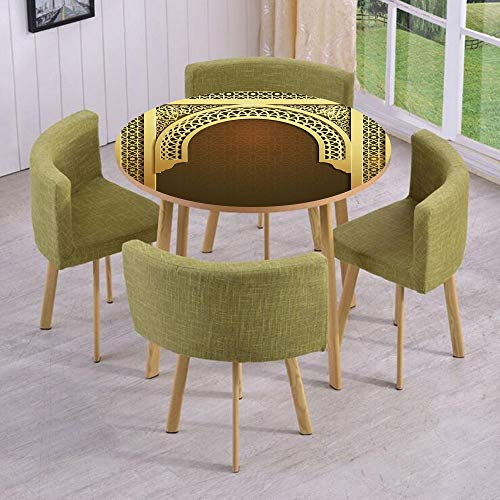 (iPrint Round Table/Wall/Floor Decal Strikers/Removable/Middle Eastern Ramadan Greeting Scroll Arch Figure Celebration Holy Eid Theme/for Living Room/Kitchens/Office Decoration)