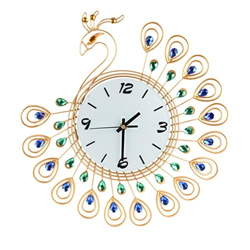 DIGOOD 3D Vintage Style Peacock Design Antique Wall Clock for Home Office Decor (Halloween Night Date Ideas)