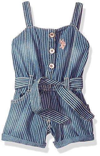 U.S. Polo Assn. Baby Girls Romper, Forever Blue Denim Stripes Multi, 24M 24 Baby Denim Jeans