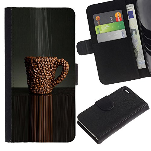 ProTech - Apple Iphone 4 / 4S - Coffee Cafe Black Caffeine Bean Brown - Cuir PU Portefeuille Coverture Shell Armure Coque Coq Cas Etui Housse Case Cover Wallet Credit Card