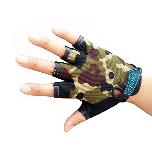 Half Finger Cycling Gloves for Kids Children Breathable Anti-slip Camouflage Outdoor Sports Gloves Boy's Mitten by MARZE (Image #1)