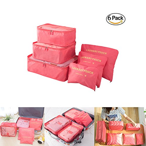 6 pc  packing cubes Watermelon Red