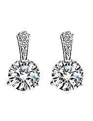Richy-Glory - S925 Silver Stud Earring New Fine Jewelry White CZ Crystal