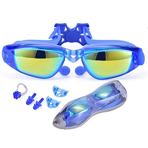 Swimming Goggles, DUZCLI Mirrored Swim Glasses Ultra Anti Fog ,UV Protection ,No Leaking Swim Goggles with Free Case ,Nose Clip and Ear Plugs for Men Women Boys Girls - Near Swim Me Gear