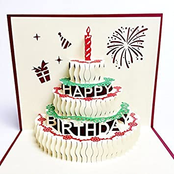 Creve 3d Popup Greeting Card Birthday Card Birthday Cake Big Size
