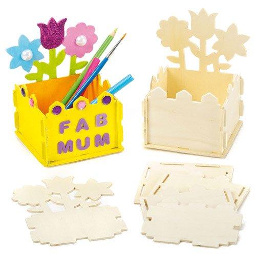 Stiftehalter-Bastelsets aus Holz und mit Blumengartenmotiv für Kinder zum Selbergestalten und als Geschenkidee (2 Stück)