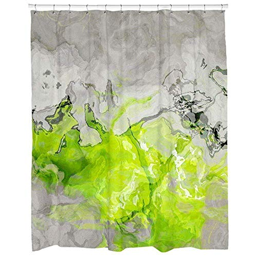 - Contemporary shower curtain in lime green and warm gray, Water-Repellent Lime Love