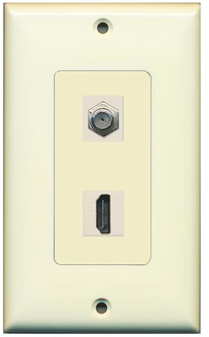 Amazon.com: RiteAV - 1 x Cable TV Coax and 1 x HDMI Port Wall Plate ...