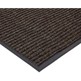 "NoTrax 109 Brush Step Entrance Mat, for Lobbies and Indoor Entranceways, 3' Width x 6' Length x 3/8"" Thickness, Brown"