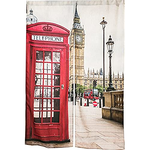 KARUILU Home Japanese Noren Doorway Curtain Tapestry With Big Ben And Red Phone Booth In London 335 Width X 472 Long