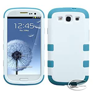 Lumii Ark 3 in 1 Hybrid TUFF design Case for Samsung Galaxy S3 - (White/Tropical Teal)