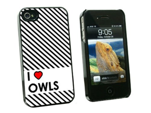 Graphics and More I Love Heart Owls - Snap On Hard Protective Case for Apple iPhone 4 4S - Black - Carrying Case - Non-Retail Packaging - Black