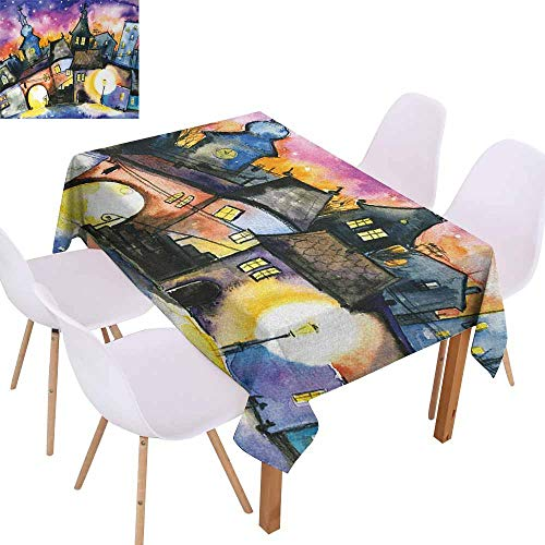 UHOO2018 Abstract,Picnic Tablecloth,Funky Watercolors Paint Small Town Weird Angles at Night Light Reflections Mist Image,for Patio Garden Tabletop Decor,Multi,70