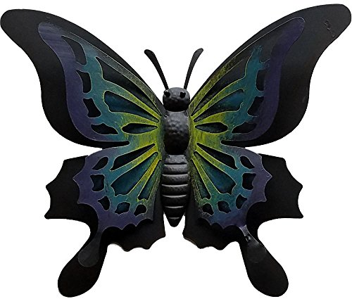 Metal 3D Butterfly Wall Decor Green and Purple