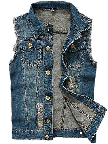 TM Mens Blue Vintage punk Hip-hop Motorcycle Washed Jean Denim Vest