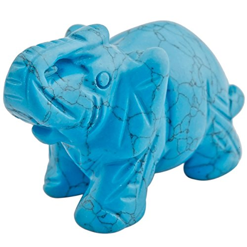 mookaitedecor Blue Howlite Turquoise Crystal Elephant Sculpture Statue Crafts Healing Reiki Pocket Gemstone Figurines 1.5 Inch (Crystal Mother Elephant)