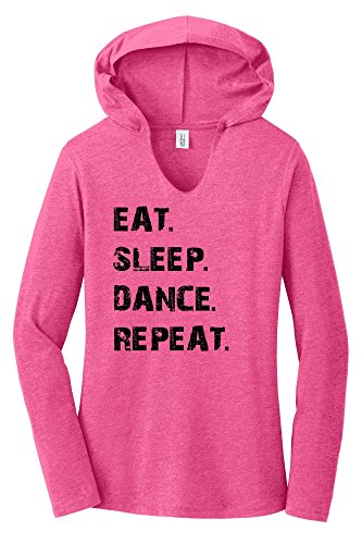 Ballet Womens Shirt - Comical Shirt Ladies Eat Sleep Dance Repeat Fuchsia Frost XS