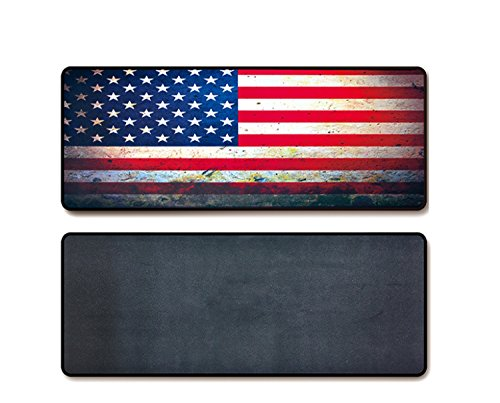 Large Gaming Mouse Pad & Desk Keyboard Mat Extended XXL Size, Heavy Thick, Soft for Desktop, Laptop, Keyboard, Vintage Retro Style with Stitched Edges, Non-Slip Rubber Base (American Flag)