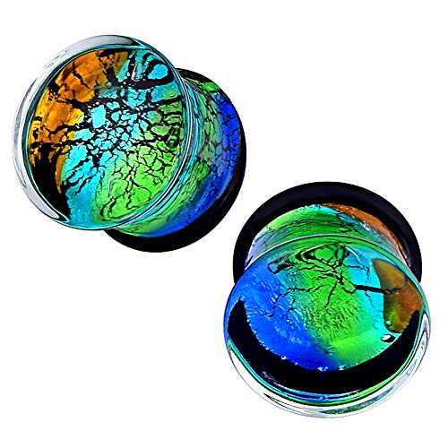 Oyaface 1Pair Colourful Glass Double Flared Tunnel Ear Plugs Expander Gauges 5 Style to Choose Size 1/2''(12mm)