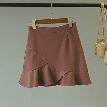 HEHEAB Falda,Marrón Cintura Alta Mini Faldas Falda Corta De Las ...