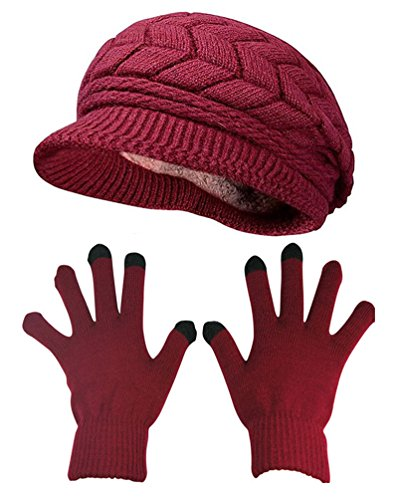 HINDAWI Winter Hat Gloves for Women Knit Warm Snow Ski Outdoor Caps Touch Screen Mittens Burgundy ()