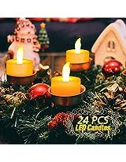 UBEGOOD LED Candele, Candele senza fiamma a LED 24pcs con Telecomando e Timer Candele a Batteria Luce Decorativa per Natale Feste Matrimonio Compleanno Casa Giardino Esterno -Bianco