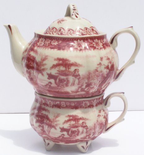 Red Toile Teapot - Red French Toile Round Belly Tea for One