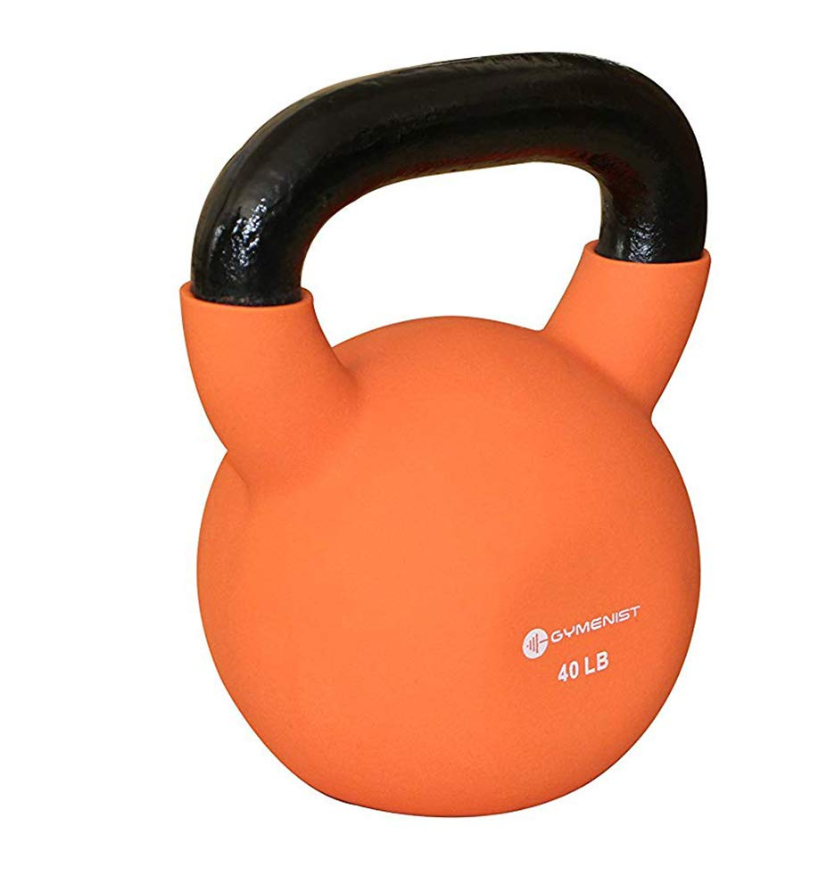 GYMENIST Kettlebell Fitness Iron Weights with Neoprene Coating Around The Bottom Half of The Metal Kettle Bell (40)