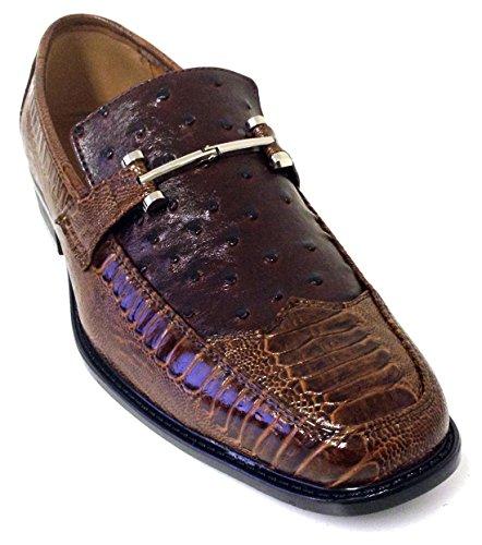 Pazzini Mens Chaussures Habillées Mode Mocassins Décontractés Slip Sur  Lézard Dautruche Style Italien Imprimé Serpent Marron 56b1b35218ed