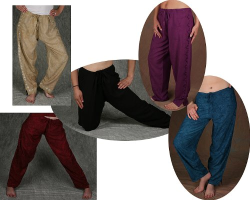 Drawstring Pants -Embroidered Rayon, Teal Large (Drawstring Pants Embroidered)