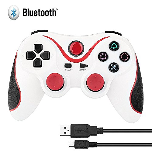 Design Ps3 Playstation (HBetterTech Unique Design Ultra-comfort Wireless Bluetooth Game Controller Cordless Control Pad for Playstation 3 Console-White&Orange)
