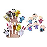 GBSELL 16PC Story Finger Puppets 10 Animals 6 People Family Members Educational Toy