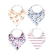 "Baby Bandana Drool Bibs for Drooling and Teething 4 Pack Gift Set For Girls ""Morgan Set"" by Copper Pearl"