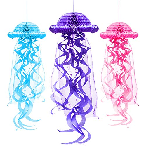 3 Pieces Paper Honeycomb Paper Jellyfish Lantern Tissue Honeycomb Ball Hanging Decoration, 3 Colors]()