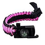 RNS STAR Paracord Survival Bracelet - Military Parachute Rope Survival for Camping Hiking Travelling - Compass, Flint Stone, Fire Starter, Knife, Whistle - Military