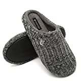 CIOR Fantiny Women's House Slippers Indoor Memory Foam Cashmere Cotton Knitted Autumn Winter Anti-Slip 2nd Upgrated Version-U118WMT029-Black Gray-F-38-39