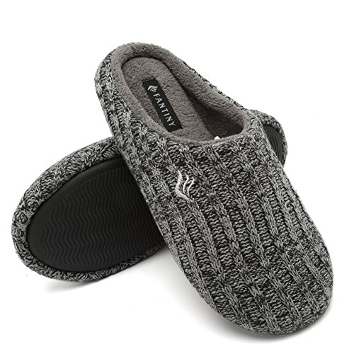 CIOR Fantiny Women's House Slippers Indoor Memory Foam Cashmere Cotton Knitted Autumn Winter Anti-Slip 2nd Upgrated Version-U118WMT029-Black Gray-F-38-39 by CIOR