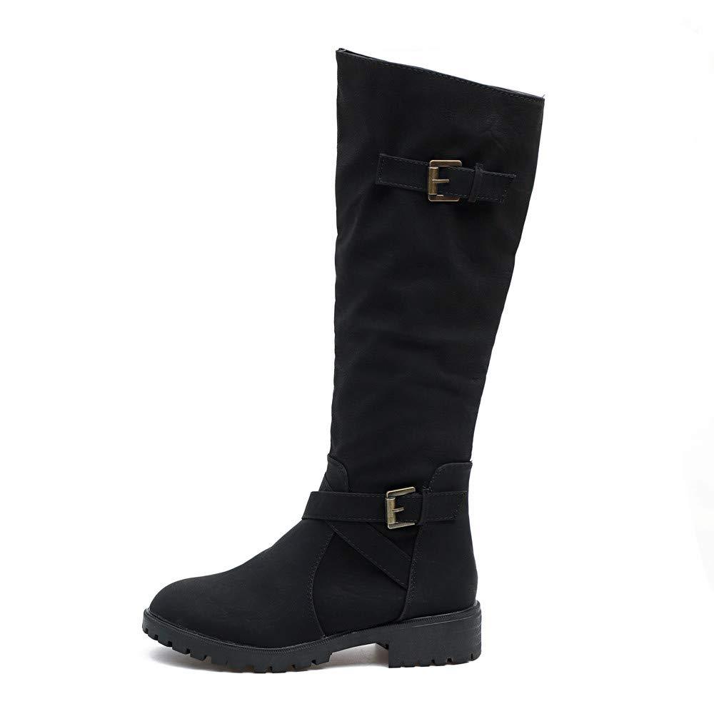 showsing Bottes pour Femmes Bottes Aux Genoux Bottes en Cuir Bottes d'hiver Couleur Unie Confortable Bottes Longues Douces Et Chaudes Grande Taille